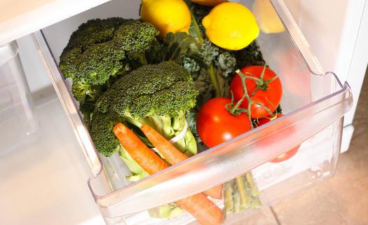 Gaveta de verduras da geladeira