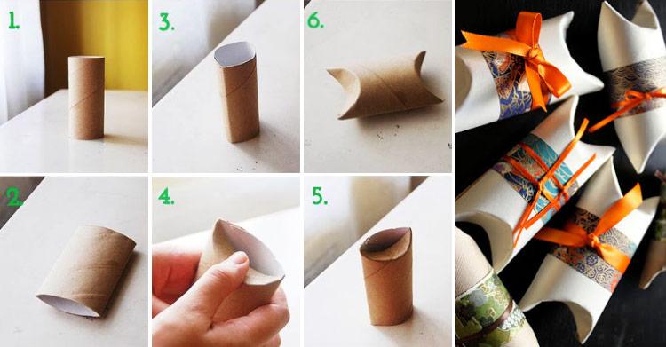 Caixa de presente feita com rolo de papel higiênico