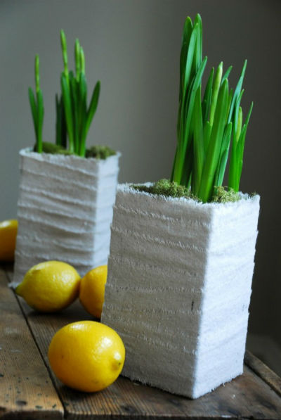 Vasos feitos de caixas de leite